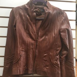 Bagatelle cognac leather jacket size 6.